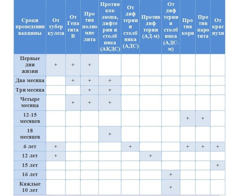 График прививок для детей