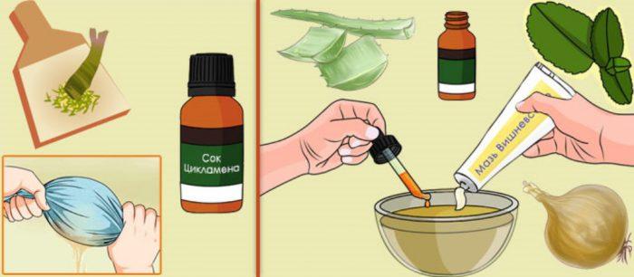 Приготовление капель с луком и цикламеном