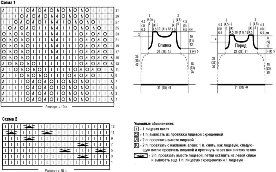 Схема вязания сарафана спицами